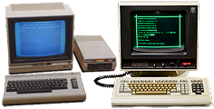 [Commodore 64 next to a Plato CDC touch screen computer]